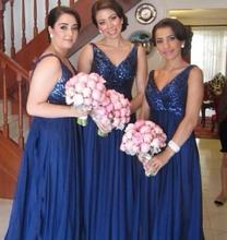 New Navy Sequined Long Chiffon Bridesmaid Dresses Sexy V neck A Line Floor Length Wedding Party Dress Formal Gowns C71