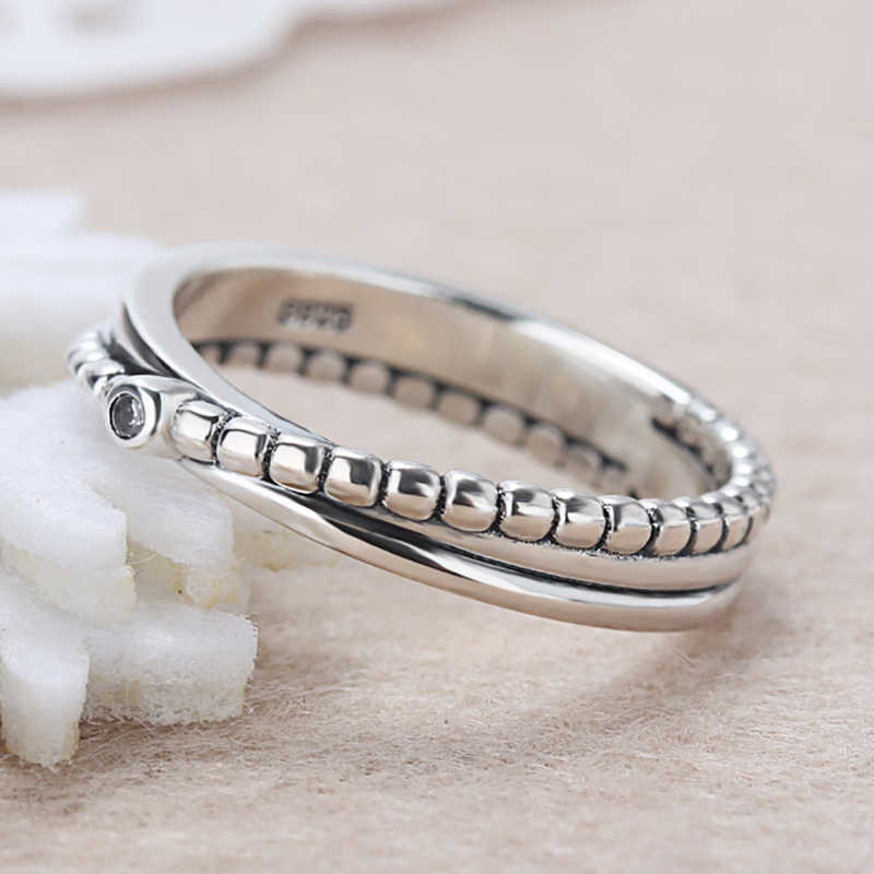 2792cefac Unique Design Cross Silver Color Finger Ring with Clear CZ Original Pandora  Rings for Women Jewelry