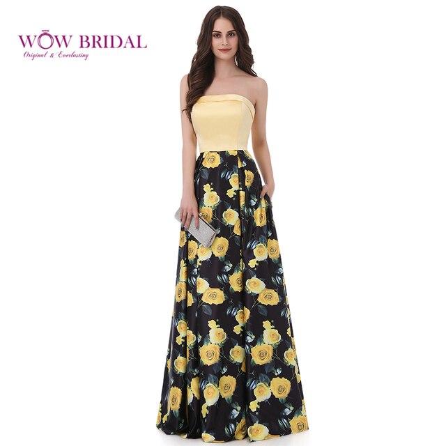 Wowbrial Graceful Gelb Gedruckt Blume Abendkleid 2017 Weg Von der ...