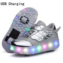 Çocuk tek iki tekerlek işıltılı parlayan Sneakers altın pembe Led ışık paten ayakkabı çocuklar Led ayakkabı erkek kız USB şarj