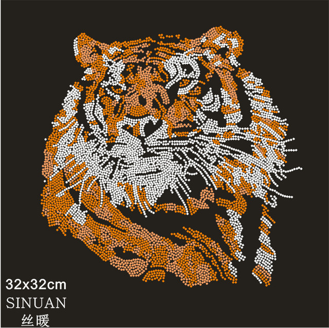wholesale 32x32cm tiger patch rhinestone pattern iron on transfers  2pieces/lot heat transfer designs for t shirts-in Rhinestones from Home &  Garden on
