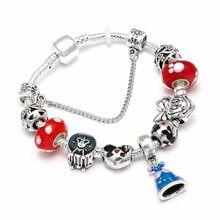 fcbfd8c00 Hot Sale Mickey Minnie Bead Charm Bracelets & Bangles Silver Color Princess  Dress Pandora Bracelet For Women Fashion Jewelry