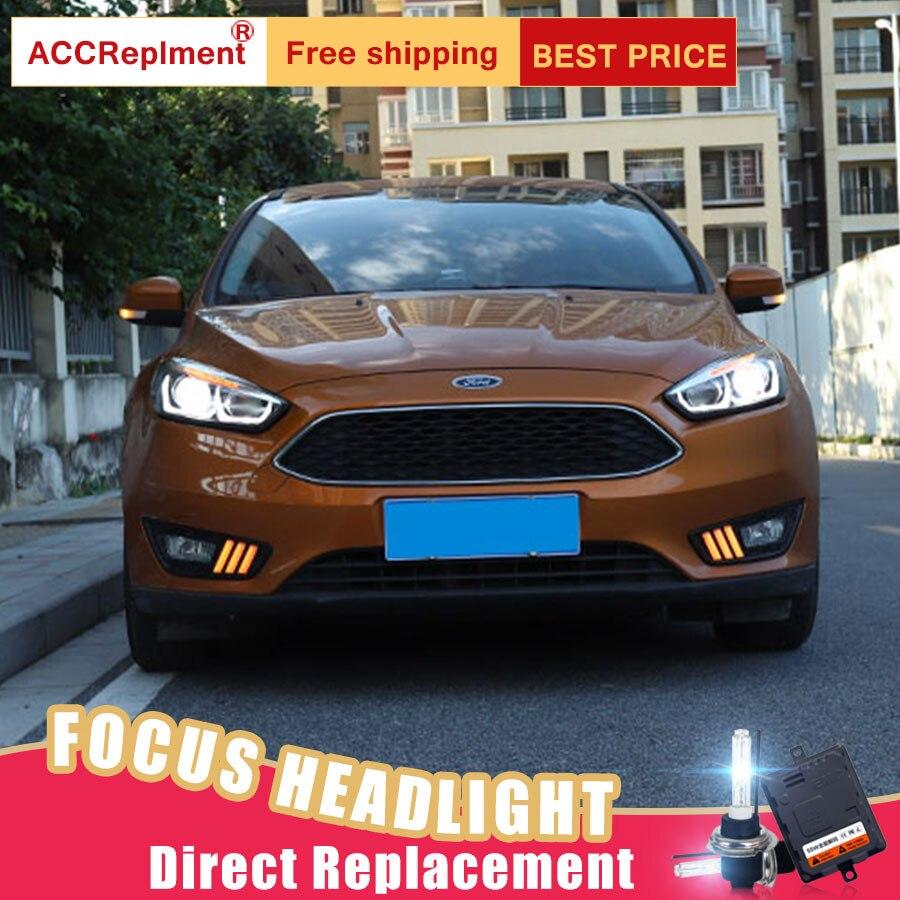 2Pcs LED Headlights For Ford FOCUS 2015-2017 led car lights Angel eyes xenon HID KIT Fog lights LED Daytime Running Lights