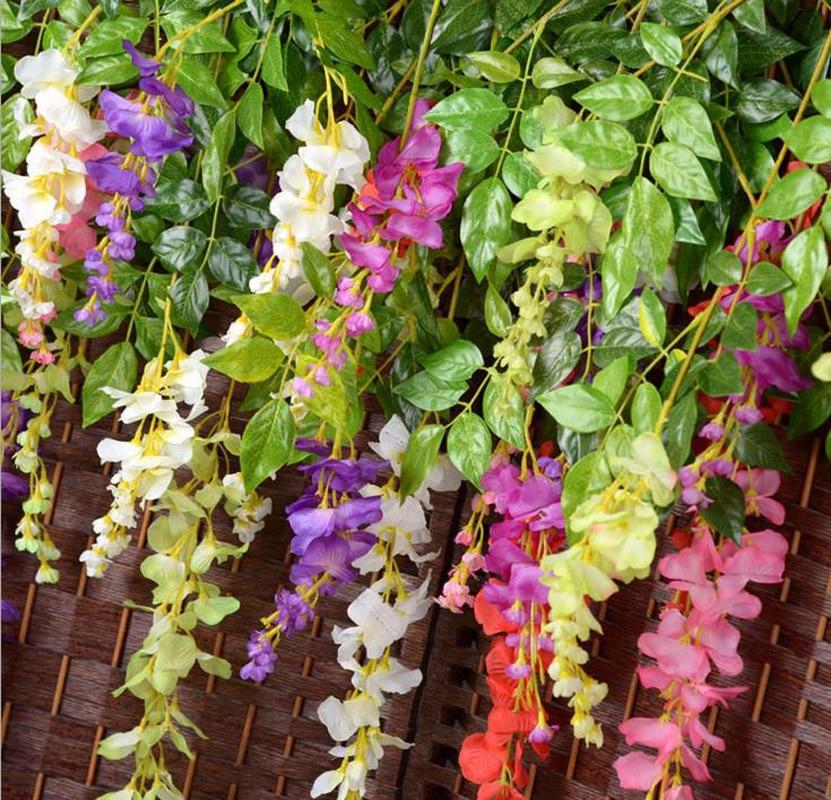 110cm Wisteria Artificial Flowers Luxury Wedding Decoration Flower Vine Silk Rattan For Home