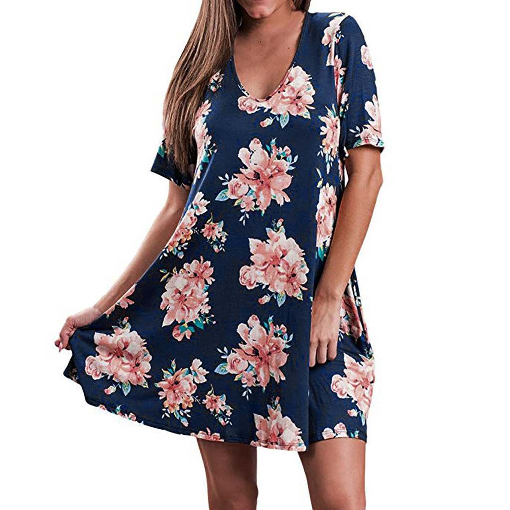 Womail 2019 V-Neck Short Sleeve Summer Floral Printed Polyester Material Beach Party Casual New Soft Dress Women 19APR25