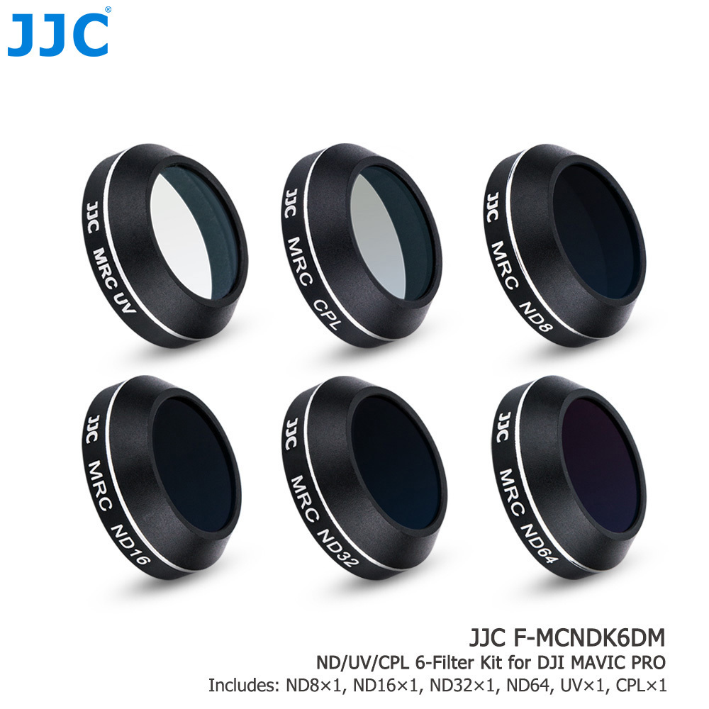 JJC Drone MC Lens Filters ND8 ND16 ND32 ND64 UV CPL Filter Kit with Moistureproof Box for DJI Mavic Pro Quadcopters pgy dji phantom 4 3 professional accessories lens filter 6pcs bag nd4 nd8 mcuv cpl cover gimbal camera quadcopter drone part