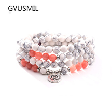 Fashion Design White Stone Natural Bracelet 108 Beads  Wrap or High Quality