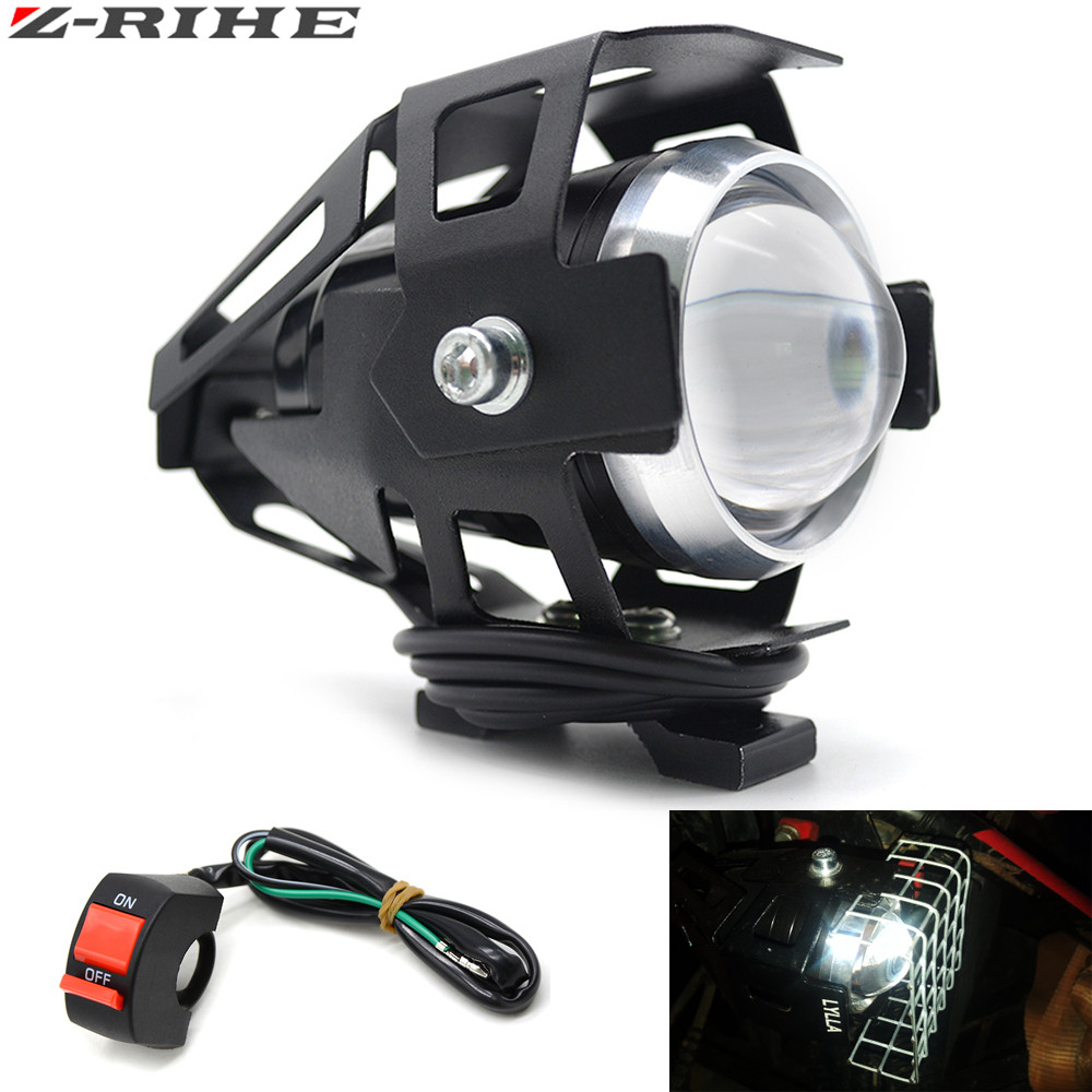 Universal 1 PCS 125W Motorcycle LED Headlight 3000LMW chip U5 Motorbike Driving Spotlight Street Moto Fog Spot Head Light Lamp