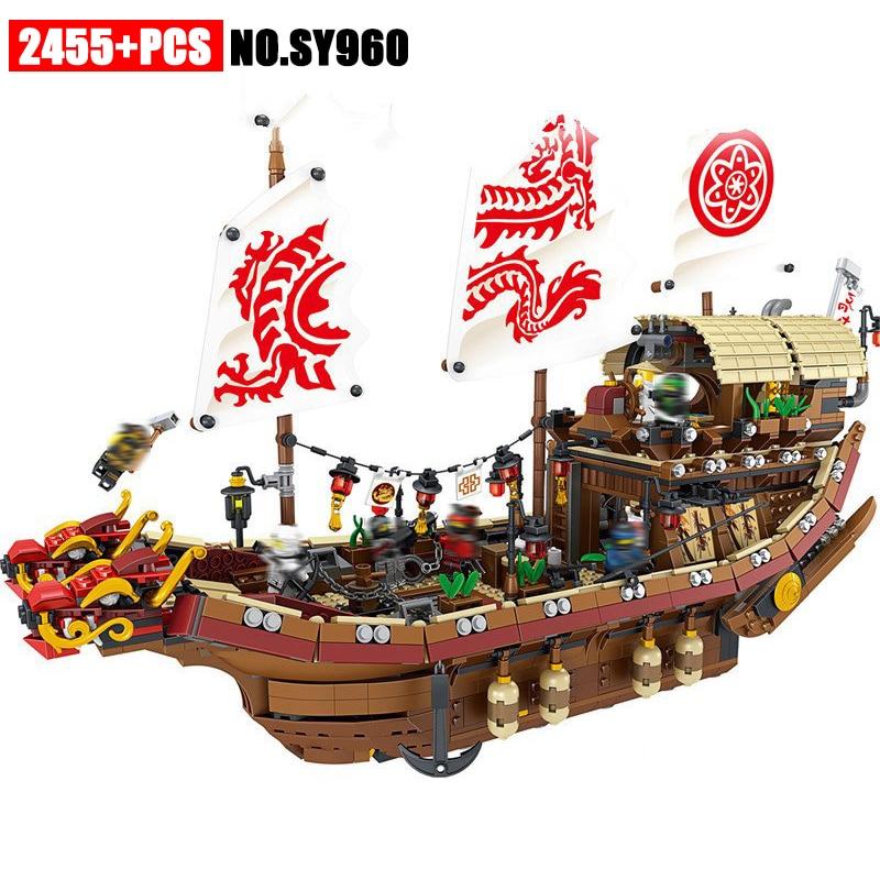 31076 Ninja series The Destiny s Bounty Model Building Blocks set Compatible 70618 classic ship education