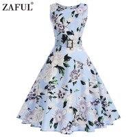 ZAFUL Floral Print Vintage Dress Women 2017 Summer Autumn 1950s Rockabilly Sleeveless Belted A Line Party