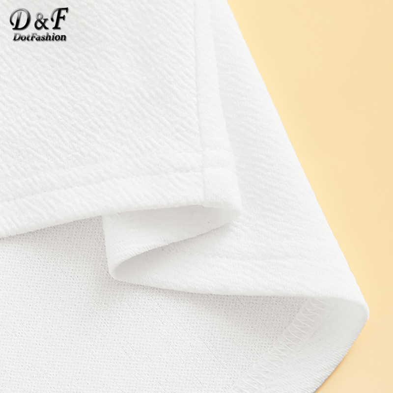 Dotfashion 白フリルネクタイネックソリッドレディーストップスやブラウス 2019 エレガントな夏のパフスリーブ韓国ファッション服ブラウス