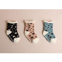 3 pairs / baby socks 2016 new winter thick cotton star pattern slip Duantong male baby socks 0-2 years old female baby socks