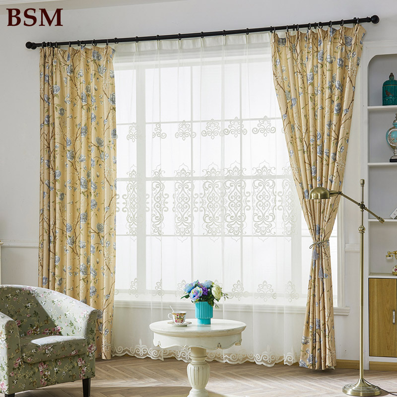 Modern Master Bedroom Curtains Yellow Bedroom Art Interior Design For One Bedroom Apartment Bedroom Carpet Pictures: Yellow Bird Modern Printing Embroidered Shade Curtain