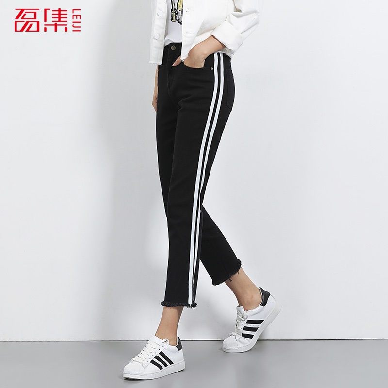 2017 LEIJIJEANS NEW Arriva Black demin jeans women mid waist low elastic jeans Ankle length pants ripped cuff Panelled design 2017 leijijeans new arrival ripped jeans woman black jeans for women mid waist low elastic hole demin jeans irregular cuff