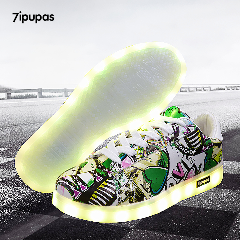 7ipupas 27-44 Led Luminous Shoes With Light,Unisex Simulation Sole Superstar Led Sneakers Boy,girl Light Up Glowing Sneakers