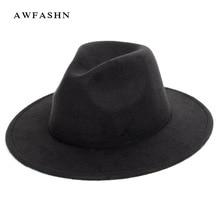 Nueva moda de Color sólido lana Fedora Otoño Invierno de las mujeres  sombrero de fieltro de lana Jazz sombrero señoras Vintage c. 75b377eefb9c