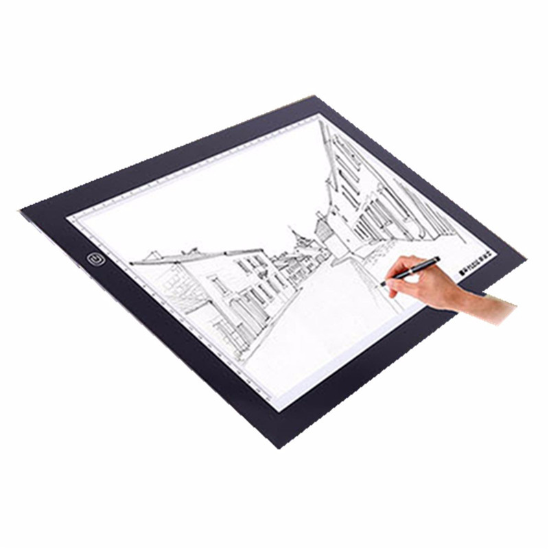 New A2 A3 Ultra-thin Dimmable Brightness LED Painting Drawing Board Light Tablet Art Stencil Tracing Copy Desk Animation Draw m way 35x23x0 52cm ultra thin pencil drawing table graphics tablet a4 led copy adjustable brightness tracing copyboard