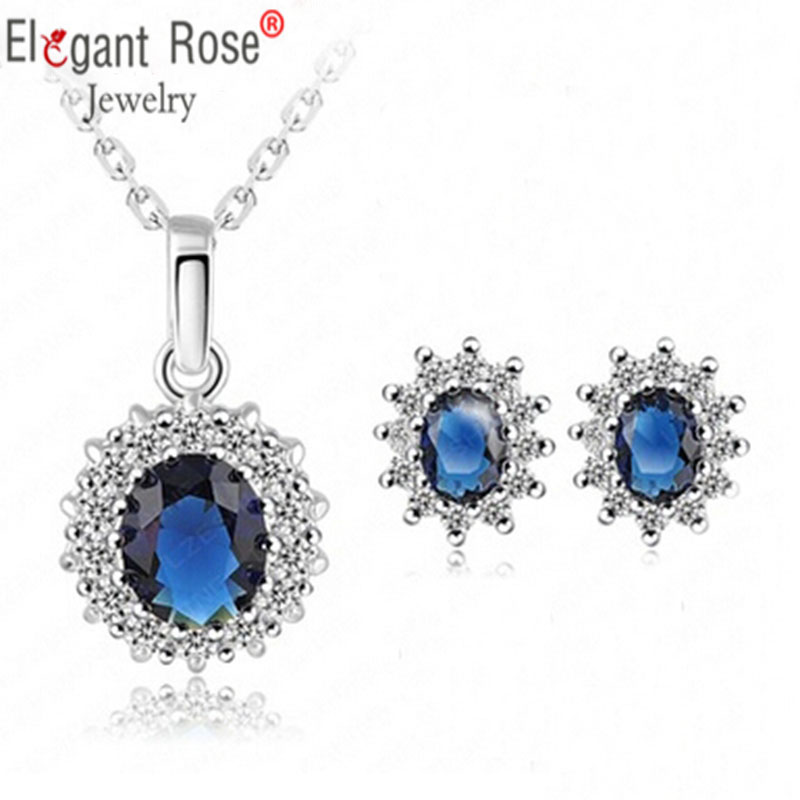 Fashion Silver Statement Earrings Necklace Set Royal Blue Crystal Cubic Zircon Bridal Wedding Dubai Jewelry Sets For Women Gift