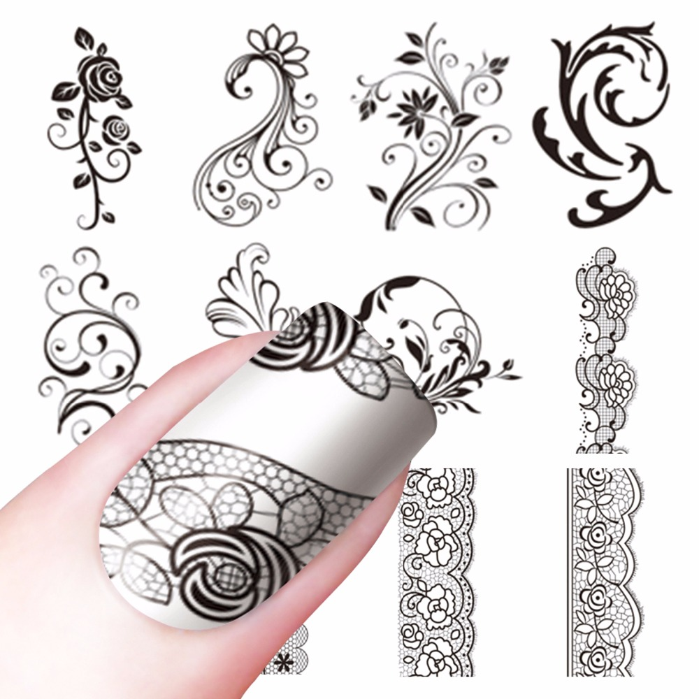 YZWLE 1 Sheet Optional Water Decals Transfer Stickers Nail Art Stickers Charm DIY Lace Flower Designs Fashion Accessories art