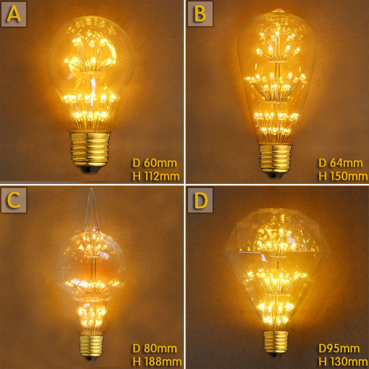3W E27 Decor LED Lampada Edison Light Bulb Bombillas Vintage Retro Lamp Ampoules Decorative A19/ST68/G80/G95 220V Lighting Tubes