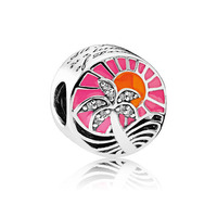 Top Quality 925 Sterling Silver Bead Charme Do Sol Tropical Charme Mixed Esmalte Beads Fit Pandora Pulseira Diy Jóias