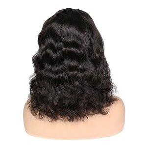 Image 3 - Parrucche corte Bob per donna parrucca frontale in pizzo ondulato radici nere Remy parrucche brasiliane anteriori in pizzo parrucche ondulate naturali 130%
