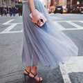 2016 New Fashion Hot Seller Long Woman Tulle Skirt Ladies Vintage Long Gowns Natural Color Female Summer Long Skirt Y0112-68D