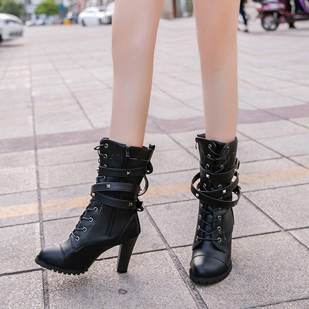 shoes Boots Women Ladies Classics Rivet Belt High Heels Mid-Calf Boots Shoes Martin Motorcycle Zip boots women 2018Oct31 15