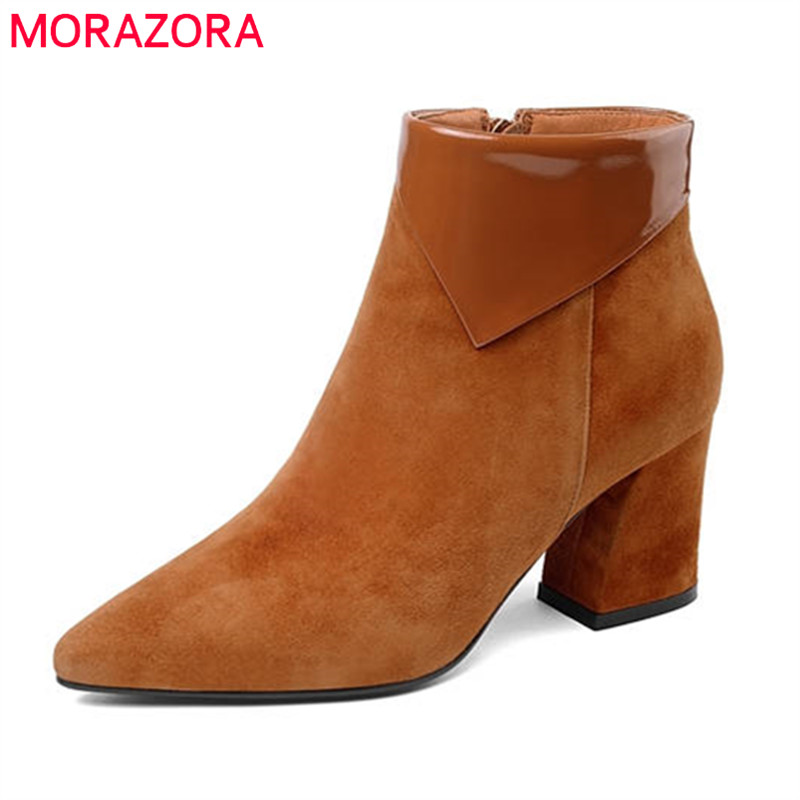 MORAZORA 2018 new arrival suede leather shoes woman pointed toe zipper autumn ankle boots for women sexy high heels boots цена