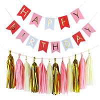 HAOCHU Tissue Paper Tassel Garland Gold Letters Happy Birthday Bunting Banner For Birthday Party Event Decor