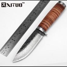 XITUO EDC Utility Schälmesser kohlenstoffstahl Handgemachtes Geschmiedetes Damaskus muster Messer selbstverteidigung Leder Griff & Mantel werkzeug