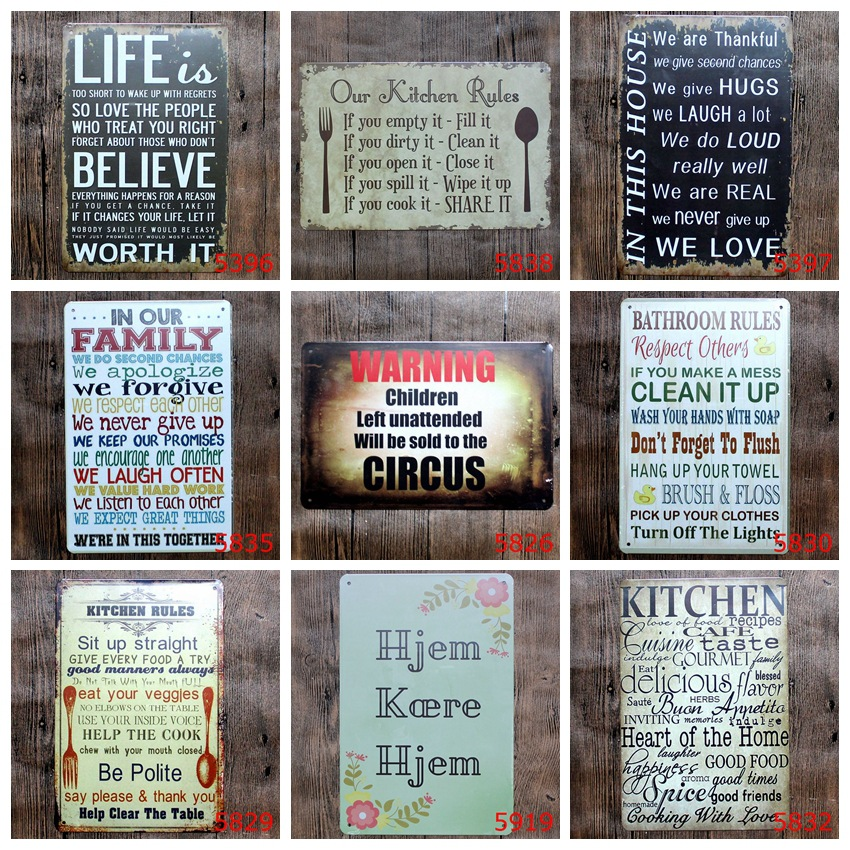 20x30cm Kitchen Bathroom Rules Warning Family Coffee Retro Metal Tin Signs Home Decorative Vintage Iron Painting