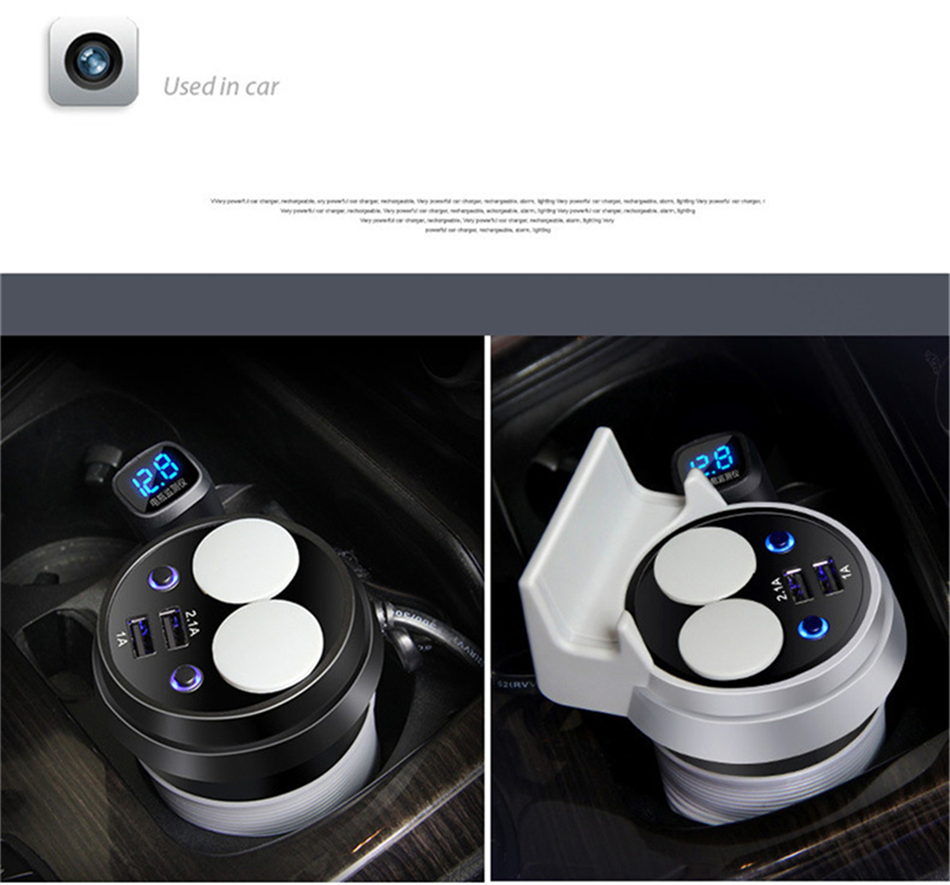Brand HSC 12-24V 3.1A high speed Output USB Car Charger  Quick Charge Car Cup Holder Car Cigarette Lighter Socket Adapter (14)