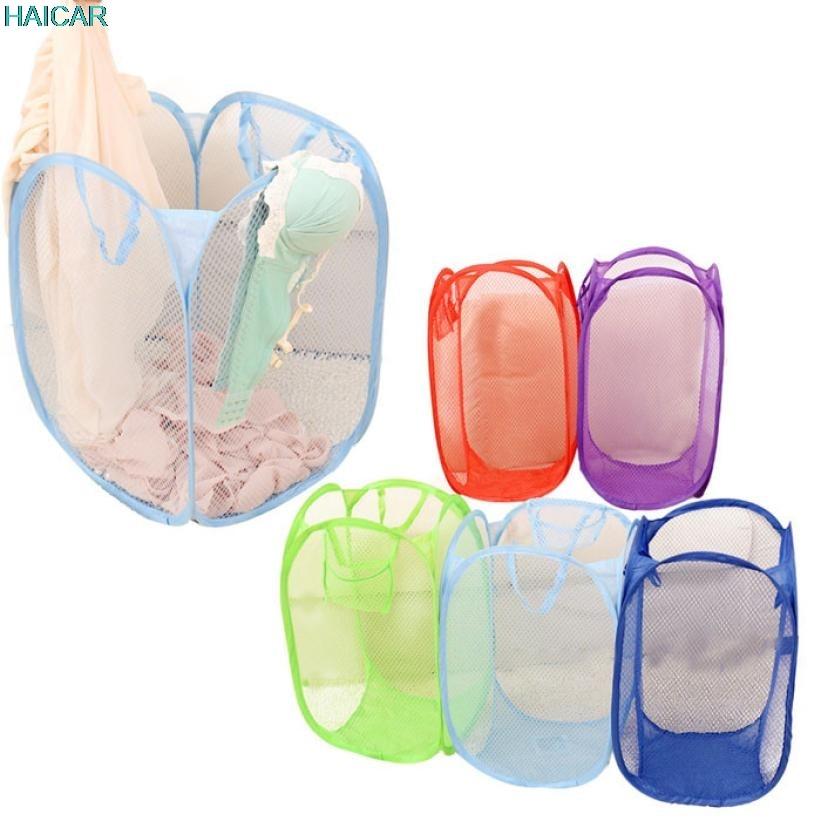New Mesh Laundry basket Storage Foldable Pop Up Washing Dirty Clothes Nylon Laundry Basket Bag Toy