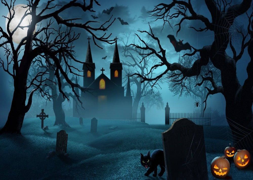 Image 2 - DePhoto Photography Background Castle Moon Bats Cat Tombstone Tree Halloween Theme Backdrop Photo Studio Camera Fotografica-in Background from Consumer Electronics