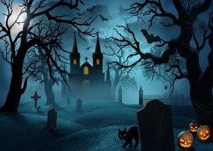 Image 2 - DePhoto Photography Background Castle Moon Bats Cat Tombstone Tree Halloween Theme Backdrop Photo Studio Camera Fotografica