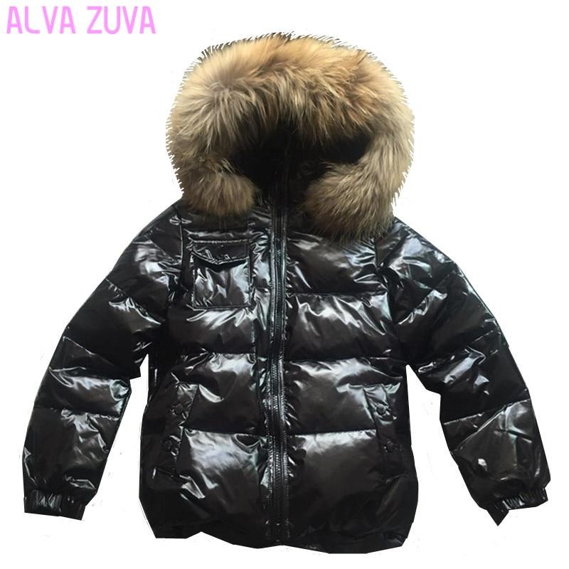 75f42b822603 30 Degree Russia Winter Children raccoon fur collar Jacket Kids ...