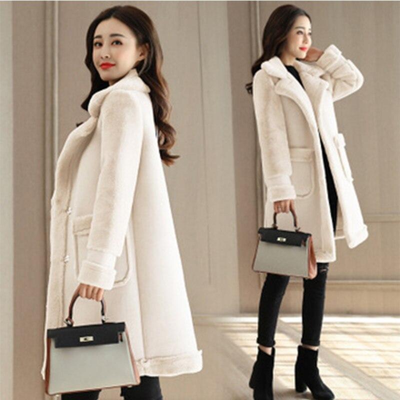 Новые зимние повседневные куртки из овечьей шерсти с пуговицами, женские длинные толстые вельветовые шерстяные куртки из оленьей кожи, женские Азиатские размеры