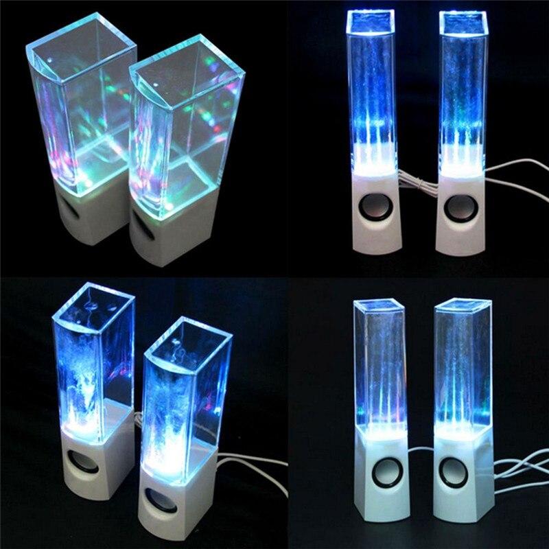 1Pair Portable Dancing Water Music Speaker LED Light Fountain Speaker USB Sound box Subwoofer for PC