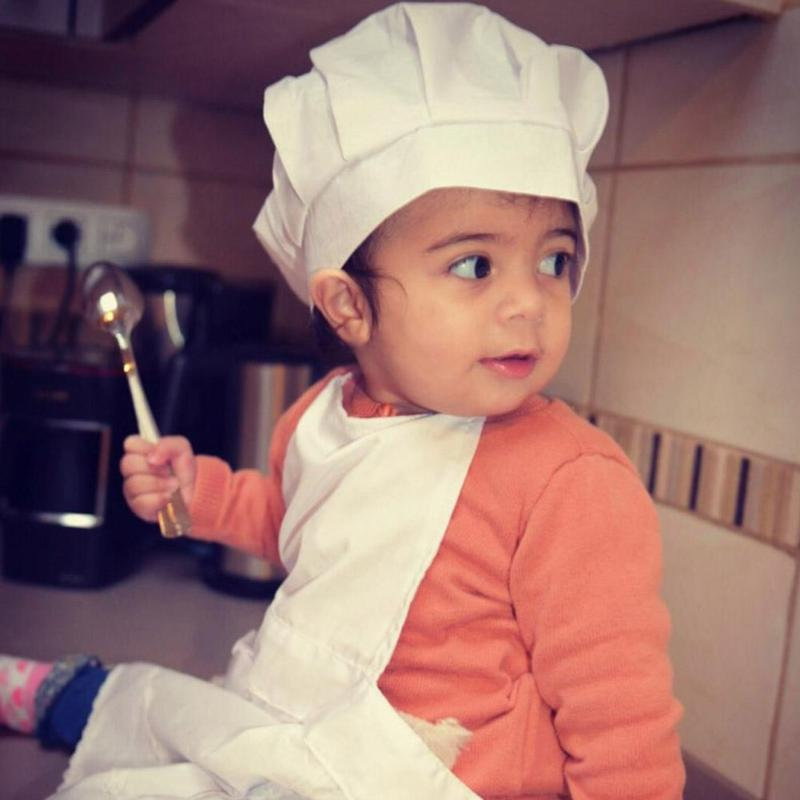 Infant Baby White Apron Hat Cap Chef Costume Photography Props Newborn Baby Boy Girl Toddler Kids Cosplay Photo Prop Gift