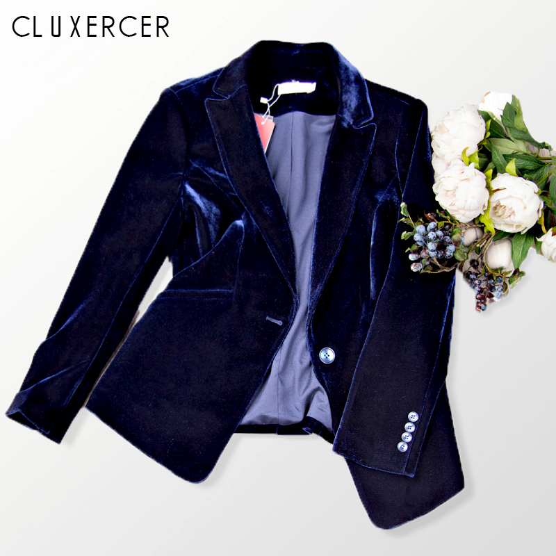2019 New Velvet Women Blazer Black Blue Elegant Lady Blazers Suits Spring Fall Plus Size Long Sleeve Slim Office Suit Jacket