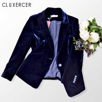 2019 New Velvet Women Blazer Black Blue Elegant Lady Blazers Suits Spring Fall Plus Size Long Sleeve Slim Office Suit Jacket - DISCOUNT ITEM  30% OFF All Category