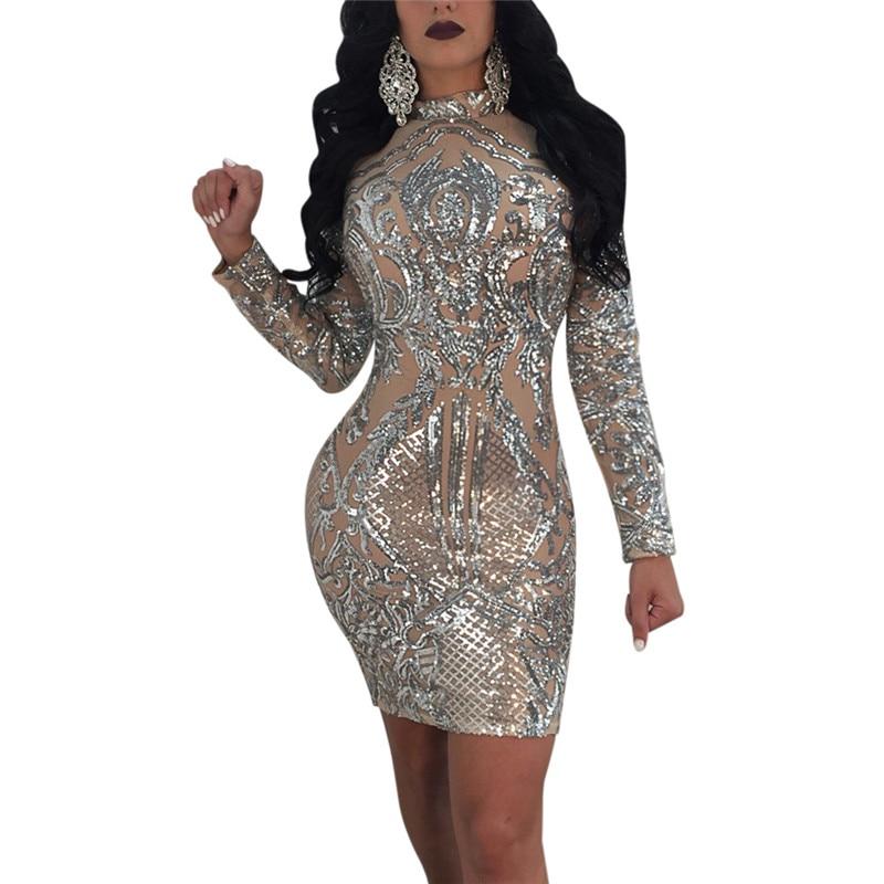 High-end Sequin <font><b>Dress</b></font> Women High Stretch Sexy Perspective Mesh <font><b>Dress</b></font> <font><b>Silver</b></font> Turtleneck Long Sleeve Evening Party Nightclub <font><b>Dress</b></font>