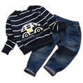 Retail 2016 spring infant clothes baby clothing sets boy car embroidered long sleeve 2pcs baby boy clothes newborn clothing set
