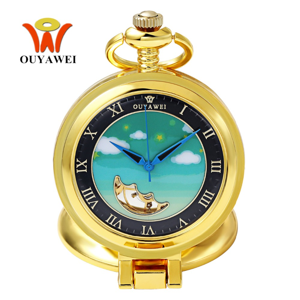 Permalink to Fashion Brand OUYAWEI Mechanical Pocket Watch Men Full Steel Case Pocket Fob Watch Analog Gold Black Dial Vintage Luxury Clock