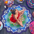 Drop Shipping Tassel Indian Mandala Tapestry Totem Lotus Printing Beach Towels Yoga Mat Sun block Round Bikini Cover-Up Blanket