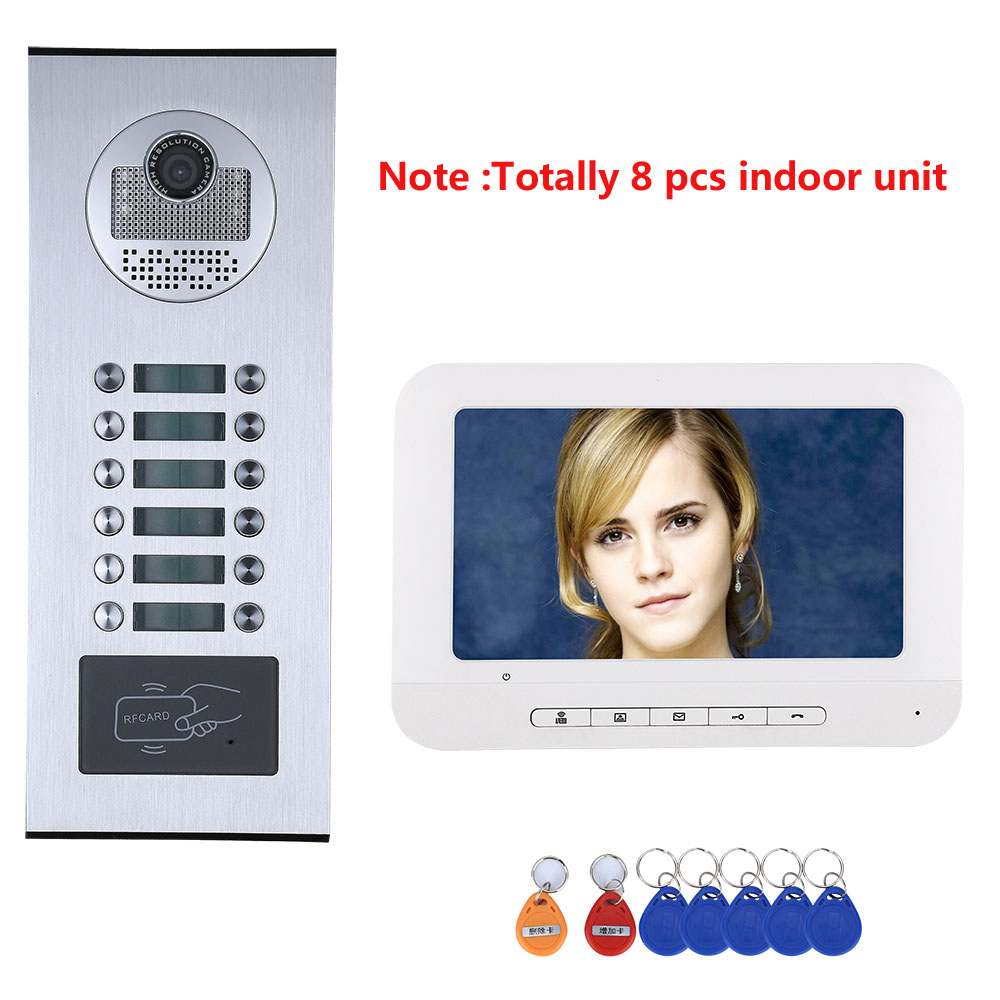 8/9/10/11/12 Apartment/Family Video Door Phone Intercom System RFID IR-CUT HD 1000TVL Camera With 12 Button Waterproof