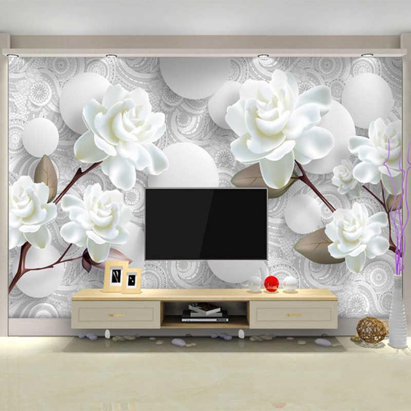 מותאם אישית ציור קיר מודרני פשוט 3D סטריאו לבן אדמונית פרח טפט סלון טלוויזיה רקע בית תפאורה קיר בד Papel דה פארדה