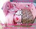 Descuento! 6 / 7 unids Hello Kitty cuna cuna del lecho de la cubierta del edredón Bumper sábana ajustable kit de ropa de cama, 120 * 60 / 120 * 70 cm