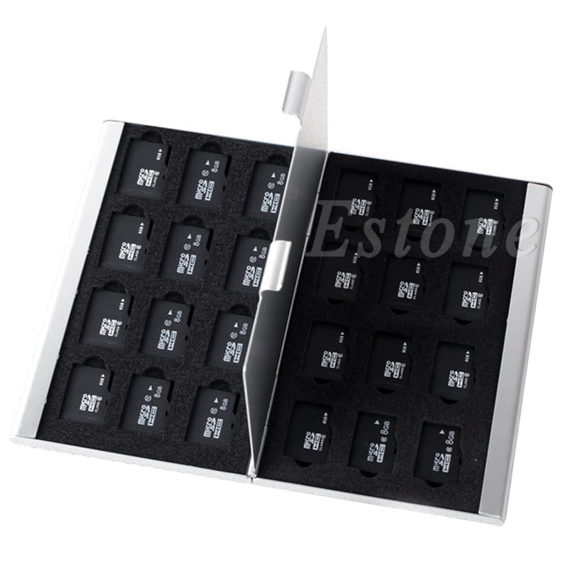 Silver Aluminum Memory Card Storage Case Box Holder For 24 TF Micro SD Cards -  New Hot